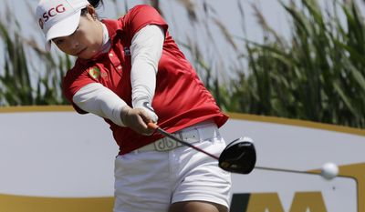 Moriya Jutanugarn, of Thailand, tees off on the third hole during the final round of the ShopRite LPGA Classic golf tournament Sunday, June 4, 2017, in Galloway Township, N.J. (AP Photo/Frank Franklin II)