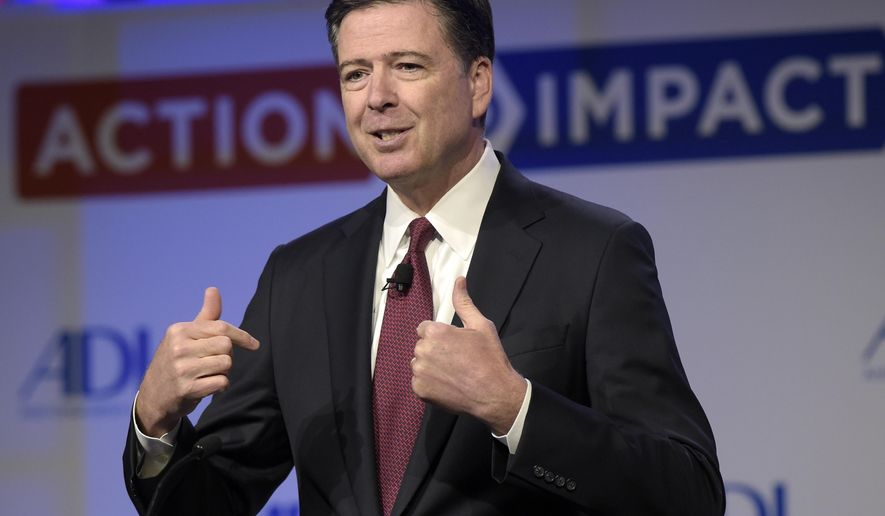 In this May 8, 2017, photo, then-FBI Director James Comey speaks to the Anti-Defamation League National Leadership Summit in Washington. Could President Donald Trump keep Comey from testifying to lawmakers about their private conversations? The White House appears to be considering raising the issue of executive privilege, but Trump may have a weak case for claiming that his conversations with Comey should be considered private, especially since the president himself has commented publicly about the circumstances surrounding Comey's May 9 firing.(AP Photo/Susan Walsh, File)