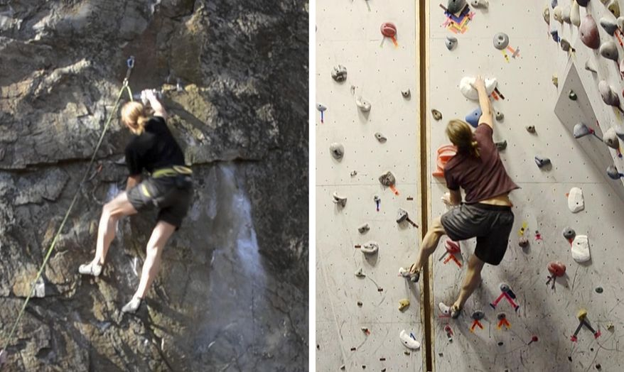 In this combo of images from video provided by Dartmouth College, a climber ascends an outdoor rock face, left, on Dec. 12, 2015 in Rumney, N.H., and another climber ascends a replica indoor climbing wall, right, on Jan. 16, 2016, in Hanover, N.H. Using three-dimensional geometry, the three-dimensional replica of the rock wall was created by tracking a climber's hand and foot positions and by estimating the contact forces. (Christos Mousas/Dartmouth College via AP)