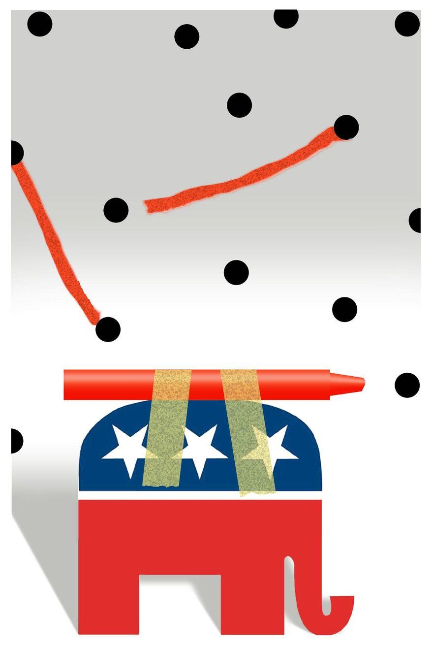 Illustration on needing to improve GOP messaging by Alexander Hunter/The Washington Times