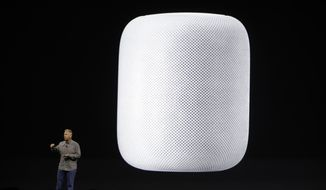 Phil Schiller, Apple's senior vice president of Worldwide Marketing, introduces the HomePod speaker at the Apple Worldwide Developers Conference Monday, June 5, 2017, in San Jose, Calif. (AP Photo/Marcio Jose Sanchez) ** FILE **