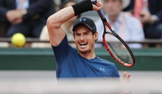 Britain's Andy Murray returns the ball to Argentina's Juan Martin del Potro during their third round match of the French Open tennis tournament at the Roland Garros stadium, Saturday, June 3, 2017 in Paris. Murray won 7-6, 7-5, 6-0. (AP Photo/Christophe Ena)
