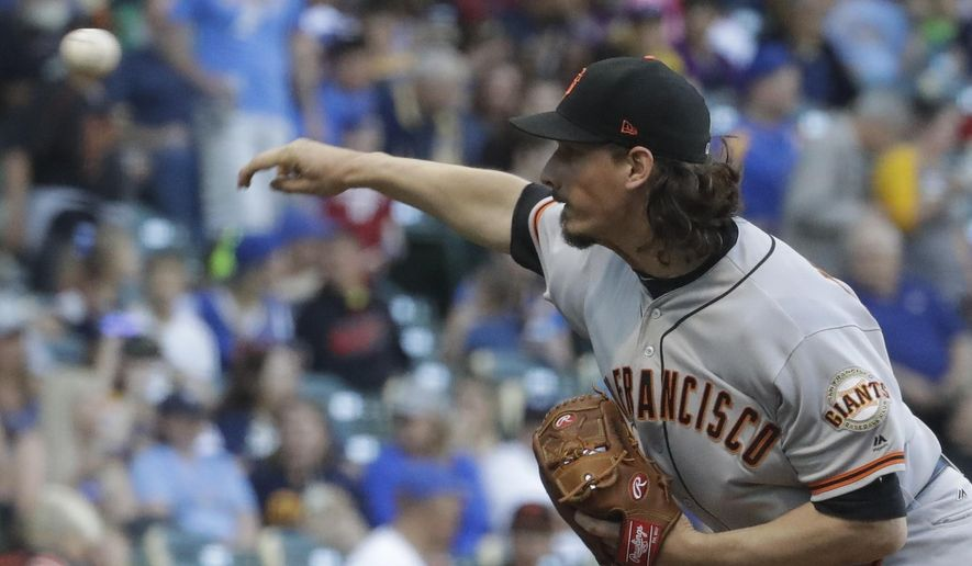 San Francisco Giants starting pitcher Jeff Samardzija throws during the first inning of a baseball game against the Milwaukee Brewers Monday, June 5, 2017, in Milwaukee. (AP Photo/Morry Gash)