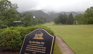 The tee box on the first hole on the Old White TPC Course at The Greenbrier resort in White Sulphur Springs, West Virginia, is shown Monday, June 5, 2017. Nearly a year since flooding from torrential rains killed 23 people statewide and left the course damaged and covered in silt, the course's reconstruction is almost done. The PGA Tour's Greenbrier Classic starts on July 6. (AP Photo/John Raby)