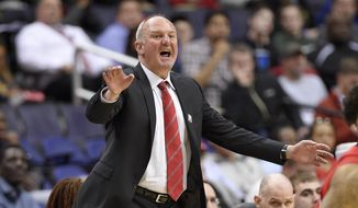 """FILE - In this March 8, 2017, file photo, Ohio State head coach Thad Matta gestures during the second half of an NCAA college basketball game in the Big Ten tournament against Rutgers, in Washington. Matta is out as coach of Ohio State after 13 seasons. Matta said Monday, June 5, 2017,  it was a """"mutually agreed"""" decision. (AP Photo/Nick Wass, File)"""