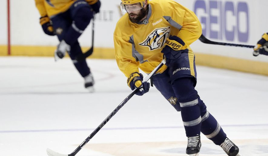 Nashville Predators center and captain Mike Fisher skates during practice Friday, June 2, 2017, in Nashville, Tenn. The Predators are scheduled to face the Pittsburgh Penguins in Game 3 of the NHL hockey Stanley Cup Finals Saturday. (AP Photo/Mark Humphrey)