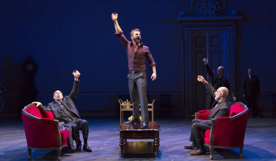 "This image released by Philip Rinaldi Publicity shows, from left,  Daniel Oreskes, Michael Aronov, and Anthony Azizi during a performance of ""Oslo,"" in New York. It has been a tough season for plays on Broadway. This season _ the 12-month period that ended May 21 _ was both the least attended and the lowest-grossing for plays in at least five seasons. (T Charles Erickson/Philip Rinaldi Publicity via AP)"