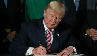 President Donald Trump signs a decision memo and a letter to members of Congress outlining the principles of his plan to privatize the nation's air traffic control system in the East Room at the White House, Monday, June 5, 2017, in Washington. (AP Photo/Andrew Harnik)