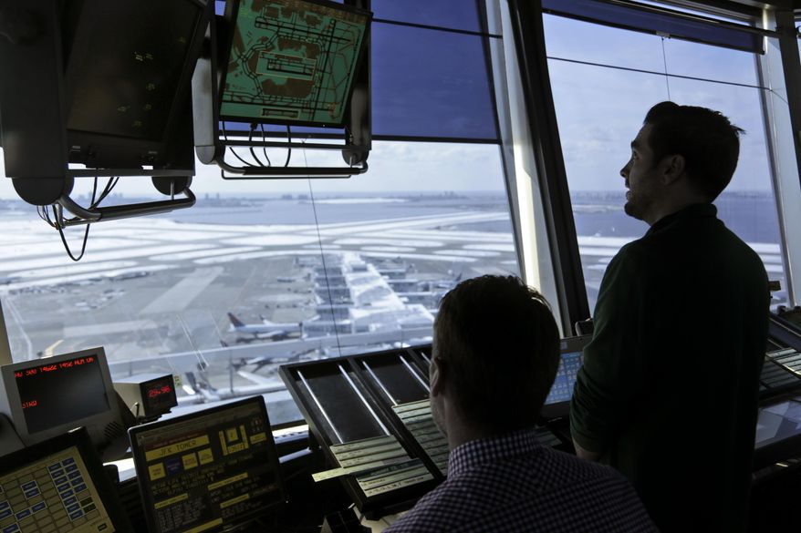 President Trump is looking to shift responsibility for the air traffic control system from the government to a private, nonprofit corporation run by airlines and other aviation interests. (Associated Press)