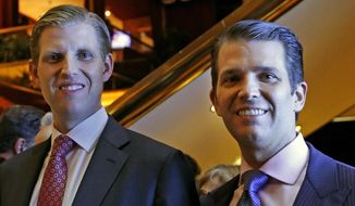 Eric Trump, left, and Donald Trump Jr., executive vice presidents of The Trump Organization, pose for a photograph at an event for Scion Hotels, a division of Trump hotels, Monday, June 5, 2017, in New York. (AP Photo/Kathy Willens)