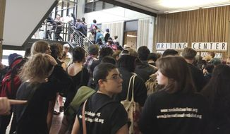 Hundreds of students at the Evergreen State College in Olympia, Washington, protested against the college administration and demanded change after weeks of brewing racial tension on campus. (Associated Press)