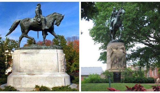 Robert E. Lee Park memorial (left) Stonewall Jackson Park memorial in Charlottesville, Va.