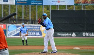 Southern Maryland Blue Crabs pitcher Daryl Thompson, a native of La Plata, Maryland, pitches against the Long Island Ducks on April 23, 2017. (Photo by Bert Hindman/Memories Photography)