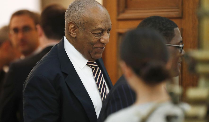 Bill Cosby leaves the courtroom during a break at his sexual assault trial inside the Montgomery County Courthouse in Norristown, Pa., Monday, June 5, 2017. (David Maialetti/The Philadelphia Inquirer via AP, Pool)