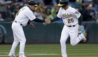 Oakland Athletics' Ryon Healy, right, is congratulated by third base coach Chip Hale (4) after hitting a three run home run off Toronto Blue Jays' J.A. Happ in the second inning of a baseball game, Monday, June 5, 2017, in Oakland, Calif. (AP Photo/Ben Margot)
