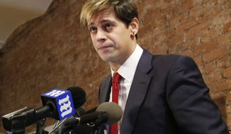 FILE - In this Feb. 21, 2017 file photo, former  editor of Breitbart Tech Milo Yiannopoulos speaks during a news conference in New York. The right-wing journalist and speaker known for his vicious rhetoric is self-publishing the memoir that Simon & Schuster dropped in February.  (AP Photo/Seth Wenig, File)