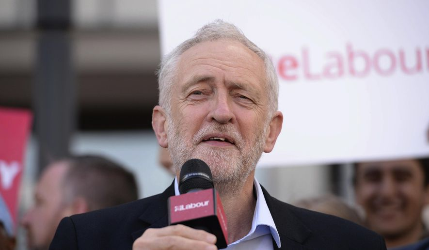 Labour leader Jeremy Corbyn gives a speech during General Election campaigning in Telford, England, Tuesday, June 6, 2017. The British election will take place on Thursday, June 8. (Ben Birchall/PA via AP)