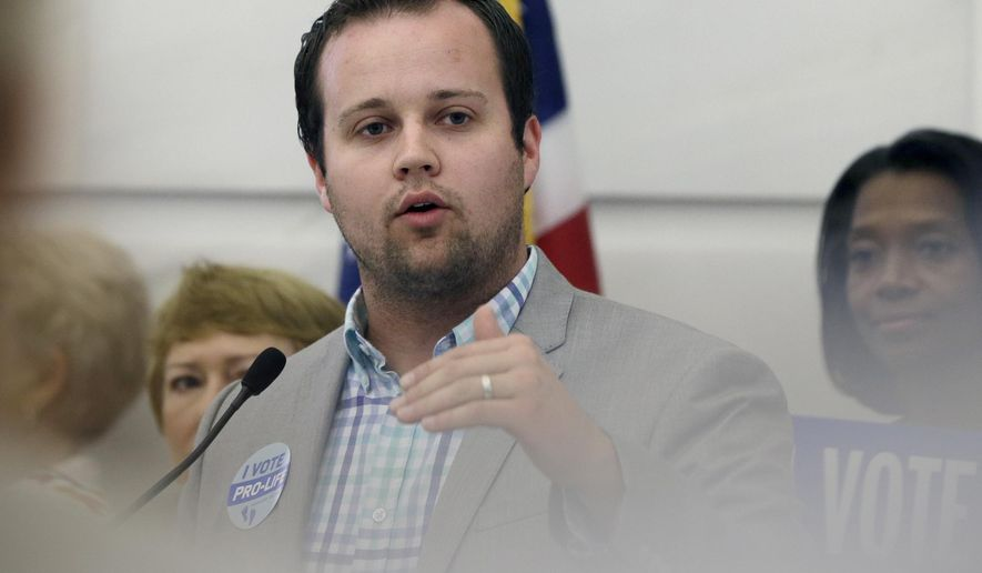 "FILE - In this Aug. 29, 2014, file photo, reality TV personality Josh Duggar speaks in favor of the Pain-Capable Unborn Child Protection Act at the Arkansas state Capitol in Little Rock, Ark. Lawyers for Duggar say he faced ""unwarranted public scrutiny"" after his sisters were revealed to have told police they'd been molested by him. (AP Photo/Danny Johnston, File)"