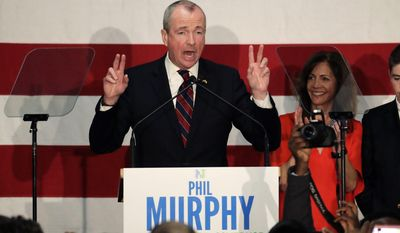 Phil Murphy speaks to supporters during a Democratic primary election watch party at the Robert Treat Hotel, Tuesday, June 6, 2017, at in Newark, N.J.(AP Photo/Julio Cortez)