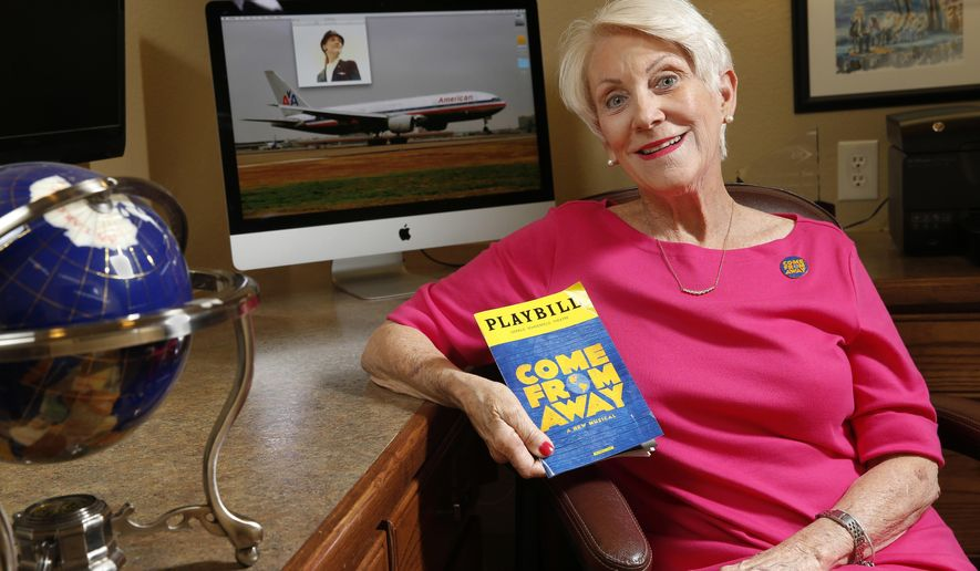 "In this May 24, 2017 photo, Captain Beverley Bass, a pioneering female pilot for American Airlines, was at the controls when flights were diverted on 9/11 to Gander, Newfoundland, poses for a portrait at her home in Argyle, Texas. Jenn Colella, plays her in ""Come From Away,"" one of the Tony nominees for Best Musical. (Nathan Hunsinger/The Dallas Morning News via AP)"