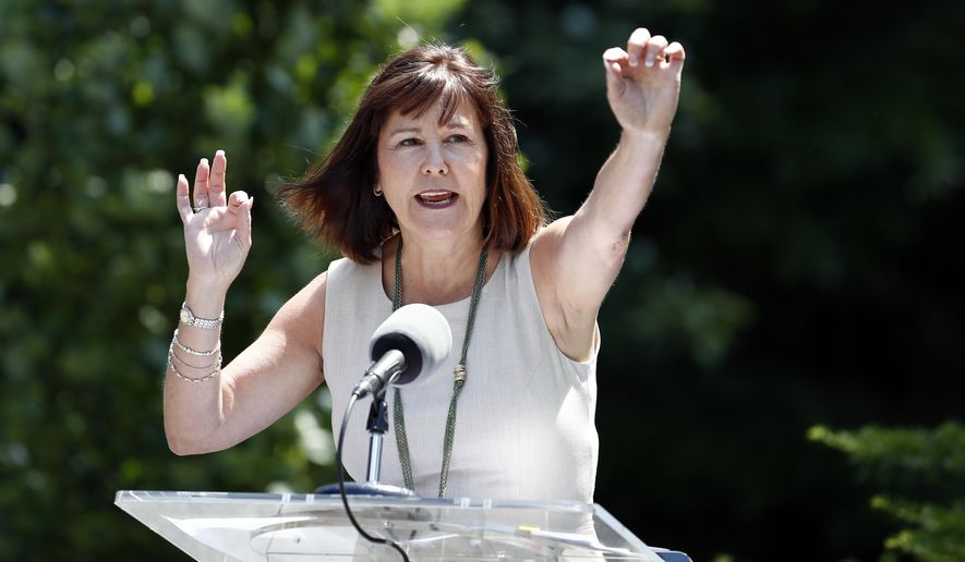Karen Pence, left, the wife of Vice President Mike Pence, speaks about a new beehive placed at the vice president's residence, Tuesday, June 6, 2017, in Washington. (AP Photo/Alex Brandon)