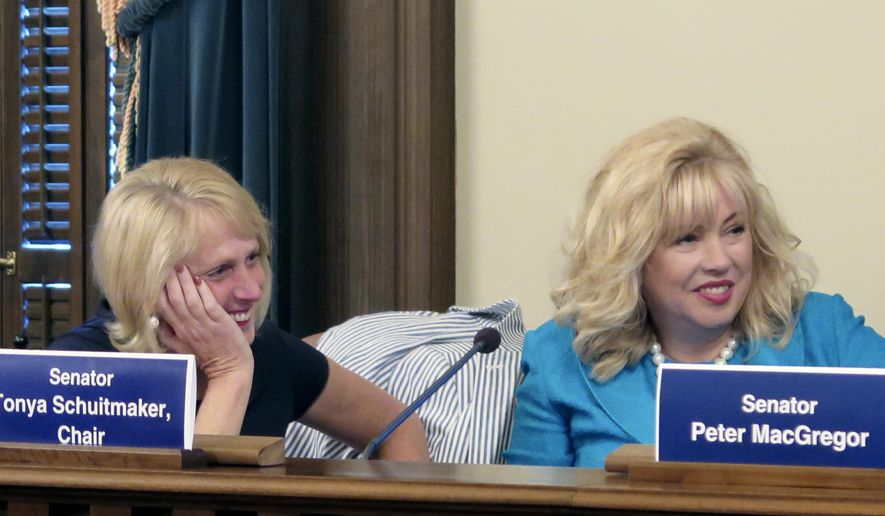 State Rep. Kim LaSata, left, R-Bainbridge Township, and Sen. Tonya Schuitmaker,  R-Lawton, listen after they voted for a $1.6 billion higher education budget bill that advanced out of a House-Senate conference committee, Tuesday, June 6, 2017, at the Capitol in Lansing, Mich. Schuitmaker said she hopes to still give universities more state funding depending on how high-level talks proceed between Michigan Gov. Rick Snyder and legislative leaders, who are at odds over teacher pensions. (AP Photo/David Eggert)