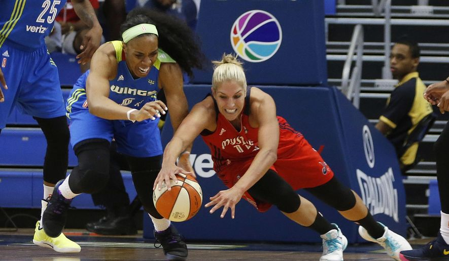 Dallas Wings forward Kayla Thornton (6) and Washington Mystics guard Elena Delle Donne (11) dive after a loose ball during the first half of a WNBA basketball game in Arlington, Texas, Tuesday, June 6, 2017. (Vernon Bryant/The Dallas Morning News via AP) **FILE**