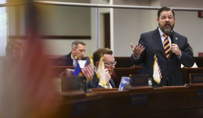 In this Monday, June 5, 2017 photo, Senate Minority Leader Michael Roberson, R-Henderson, speaks during the last day of the Nevada Legislature at the Legislative Building in Carson City, Nev. (Chase Stevens/Las Vegas Review-Journal via AP)