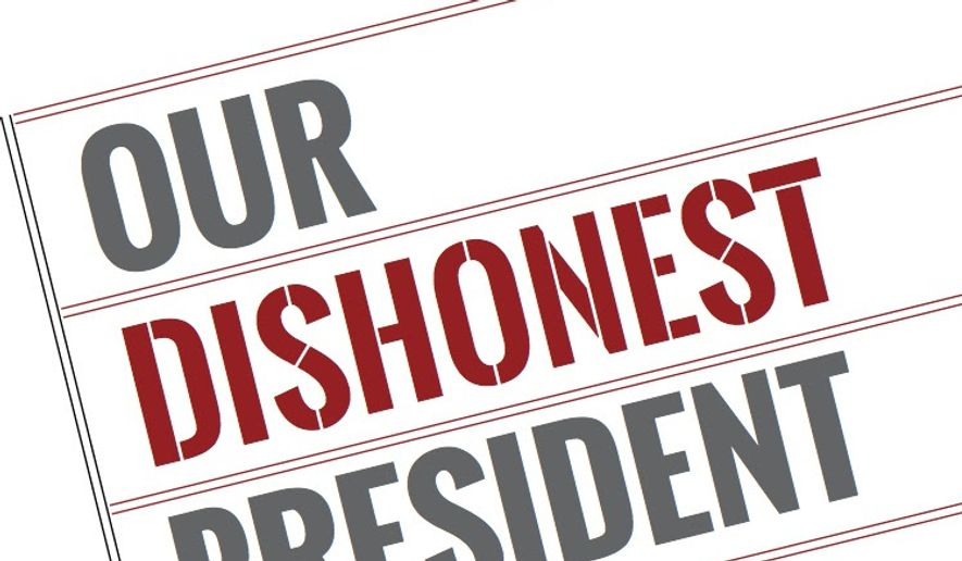 """Shown here is the cover art for """"Our Dishonest President,"""" by the Los Angeles Times editorial board. It will be released in both print and digital formats on July 4, Berkeley, Calif.-based nonprofit publishing company Heyday Books said in a June 6 news release. (Heyday Books)"""