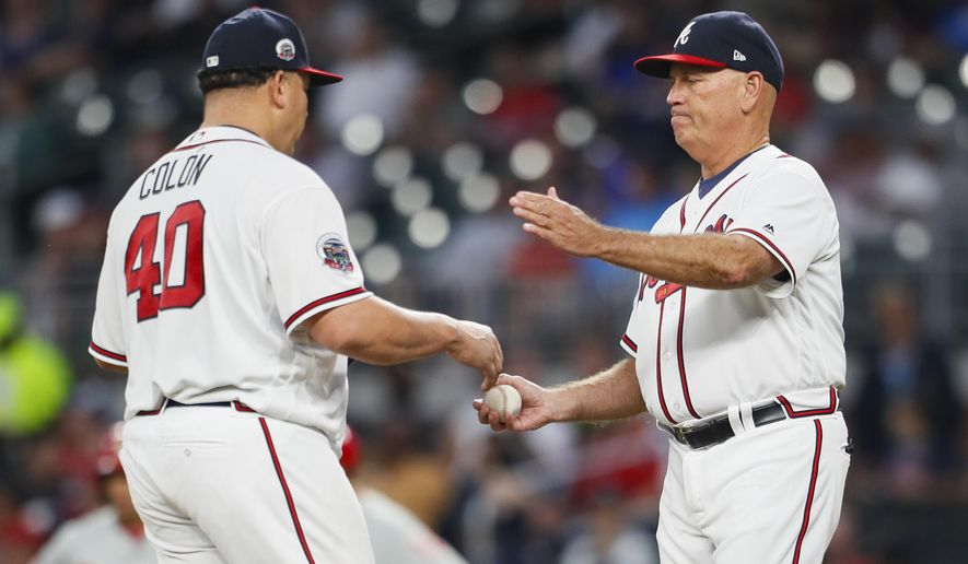 Atlanta Braves starting pitcher Bartolo Colon (40) is pulled from the game by Atlanta Braves manager Brian Snitker in the fourth inning of a baseball game against the Philadelphia Phillies, Monday, June 5, 2017, in Atlanta. (AP Photo/Todd Kirkland)