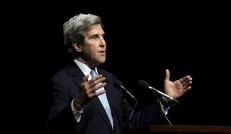Former Secretary of State John Kerry speaks before the Ploughshares Fund Chain Reaction Gala at Fort Mason in San Francisco, Calif., Monday, June 5, 2017. (Michael Macor/San Francisco Chronicle via AP)
