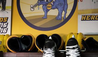 In this March 30, 2017 photo, a sign showing Stanley the Blue Dog hangs in the team's locker room in Nashville, Tenn. He's the symbol of how the Predators attack each moment like a dog defending his bone. That mentality took Nashville not only to its first Stanley Cup Final but helped the Predators tie up the series at 2-2 with two straight wins. (AP Photo/Mark Humphrey)