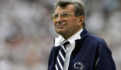 In this Sept. 16, 2006 file photo, Penn State coach Joe Paterno watches the college football game against Youngstown State in State College, Pa. (AP Photo/Carolyn Kaster, FIle)