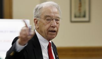 Sen. Chuck Grassley, Iowa Republican, speaks at a town hall meeting in Greenfield, Iowa, on June 2, 2017. (Associated Press) **FILE**
