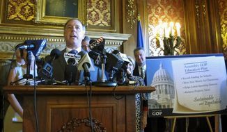 Wisconsin Assembly Speaker Robin Vos speaks in support of a new Assembly GOP education plan on Tuesday, June 6, 2017, in Madison, Wis. The plan was rejected by both Gov. Scott Walker and Senate Majority Leader Scott Fitzgerald, highlighting the ongoing impasse among Republican leaders. (AP Photo/Scott Bauer)