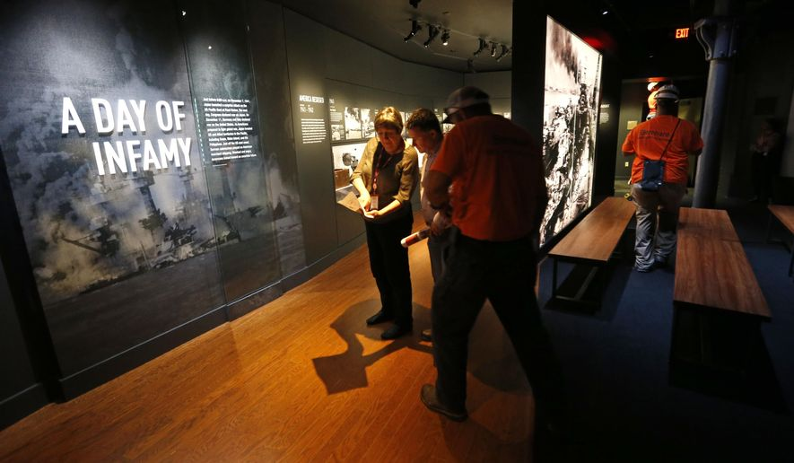"Workers go over the final installation of the permanent exhibit ""Salute to the Home Front"" at the National World War II Museum which will open to the public this Saturday, in New Orleans, Monday, June 5, 2017. The exhibit tells the home front story from the 1920s to the development of the atomic bomb. (AP Photo/Gerald Herbert)"