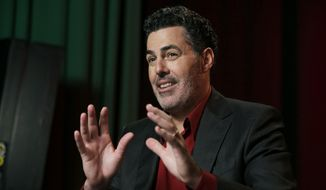 In this Thursday, May 28, 2015, photo, Adam Carolla speaks during and interview in New York. (AP Photo/Richard Drew) ** FILE **