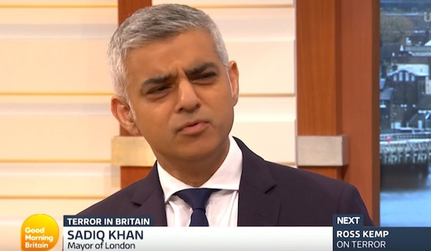 "London Mayor Saqiq Khan faces a flurry of questions during an appearance on ""Good Morning Britain,"" June 6, 2017. (""Good Morning Britain"" screenshot)"
