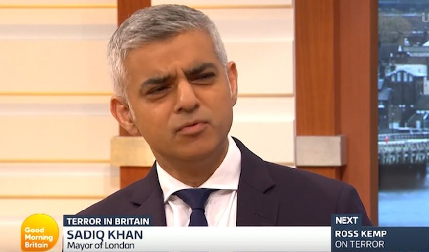 "London Mayor Sadiq Khan faces a flurry of questions during an appearance on ""Good Morning Britain,"" June 6, 2017. (""Good Morning Britain"" screenshot) ** FILE **"