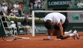 Serbia's Novak Djokovic falls as he plays Austria's Dominic Thiem during their quarterfinal match the French Open tennis tournament at the Roland Garros stadium, Wednesday, June 7, 2017 in Paris. (AP Photo/Christophe Ena)