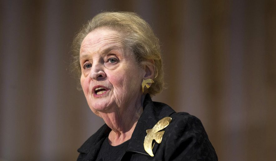 In this Oct. 6, 2016, file photo, former U.S. Secretary of State Madeleine Albright speaks during a memorial service for former Israel Prime Minister Shimon Peres at Adas Israel Congregation in Washington. (AP Photo/Zach Gibson, File)