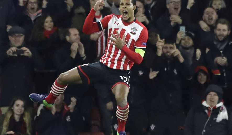 FILE- In this Thursday, Nov. 3, 2016 file photo, Southampton's Virgil van Dijk celebrates scoring during the Europa League group K stage soccer match between Southampton and Internazionale at St. Mary's Stadium in Southampton, England. Liverpool has ended its interest in signing defender Virgil van Dijk and issued on Wednesday, June 7, 2017 an apology to his club, Southampton, for the media speculation surrounding the possible transfer.  (AP Photo/Matt Dunham, File)