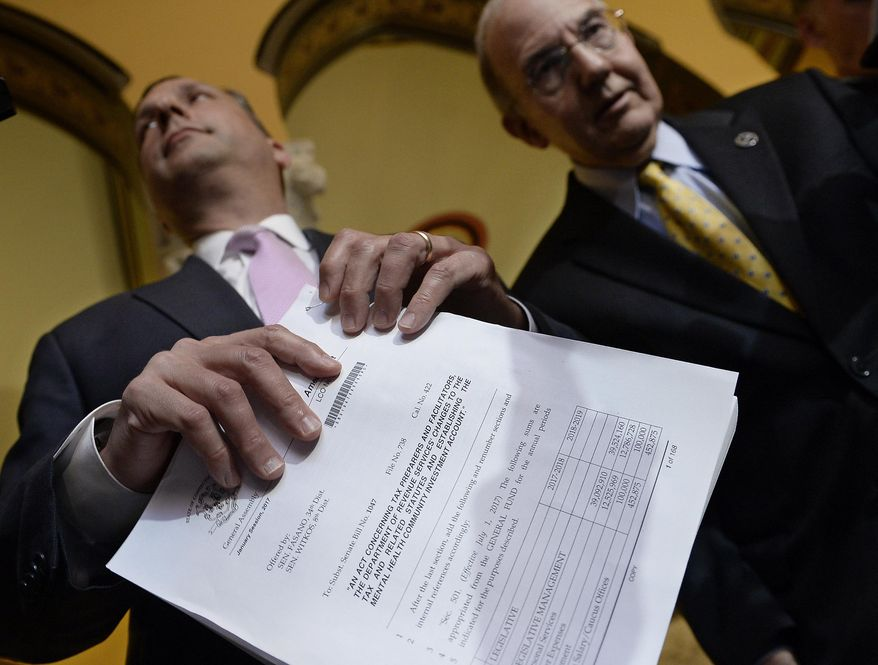 State Sen. Majority Leader Bob Duff, D-Norwalk, left, hold a GOP budget with State Democratic President Pro Tempore Martin M. Looney D-New Haven, on the final day of session at the State Capitol, Wednesday, June 7, 2017, in Hartford, Conn. (AP Photo/Jessica Hill)