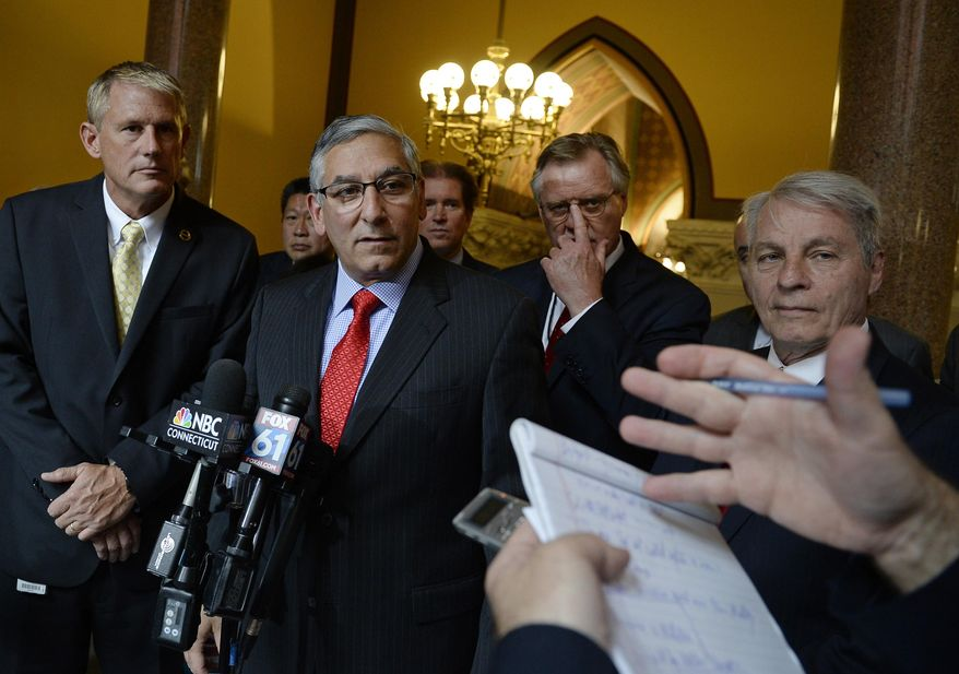 Senate Republican President Pro Tempore Len Fasano, R-North Haven, holds a news conference with Republicans to announce they will offer a GOP budget into debate on the final day of session at the State Capitol, Wednesday, June 7, 2017, in Hartford, Conn. (AP Photo/Jessica Hill)