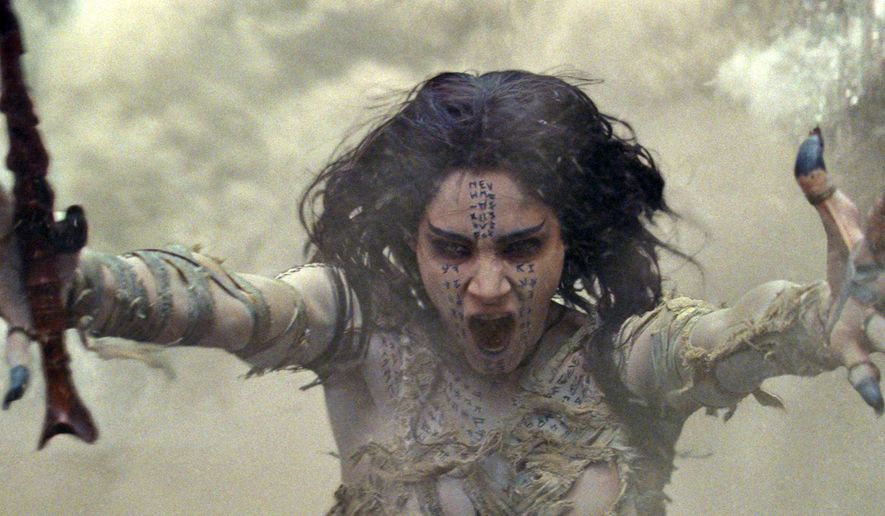 "In this image released by Universal Pictures, Sofia Boutella appears in a scene from, ""The Mummy.""  (Universal Pictures via AP)"
