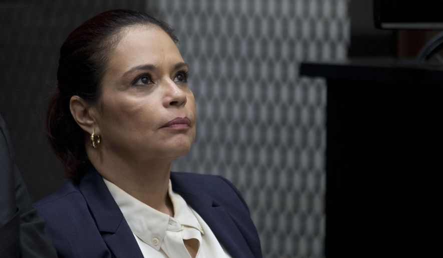 FILE - In this Aug. 24, 2015 file photo, Guatemala's former Vice President Roxana Baldetti attends her hearing inside a courtroom in Guatemala City. According to Guatemala's Foreign Ministry on June 7, 2017, the Unites States has requested Baldetti's extradition on drug trafficking charges. (AP Photo/Moises Castillo, File)
