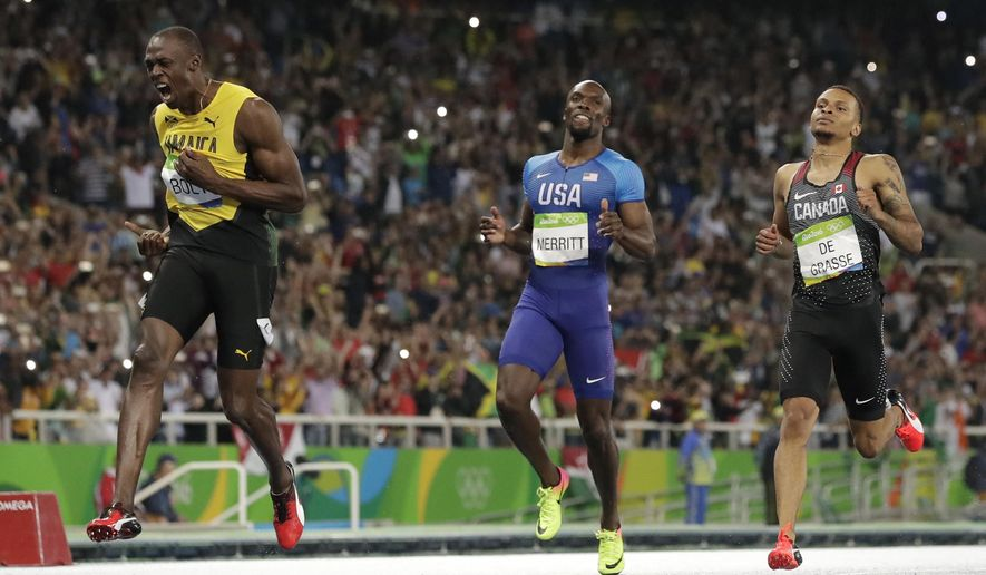 "FILE - In this Thursday, Aug. 18, 2016 file photo, Usain Bolt from Jamaica, left, crosses the line to win the gold medal in the men's 200-meter final ahead of second placed Canada's Andre De Grasse, right, during the athletics competitions of the 2016 Summer Olympics at the Olympic stadium in Rio de Janeiro, Brazil. Andre De Grasse isn't interested in considering the expectation that he'll take over the reins from Usain Bolt as the world's best sprinter when the eight-time Olympic champion retires later this year.De Grasse, who already challenged Bolt at last year's Rio de Janeiro Olympics, believes he's ready to beat Bolt this season. ""I'm trying to win this year. I feel like I have a great chance and that's what I want to do,"" De Grasse said in an interview with The Associated Press ahead of Thursday's Golden Gala Pietro Mennea meet, where the Canadian will run the 200 meters. (AP Photo/David J. Phillip, File)"