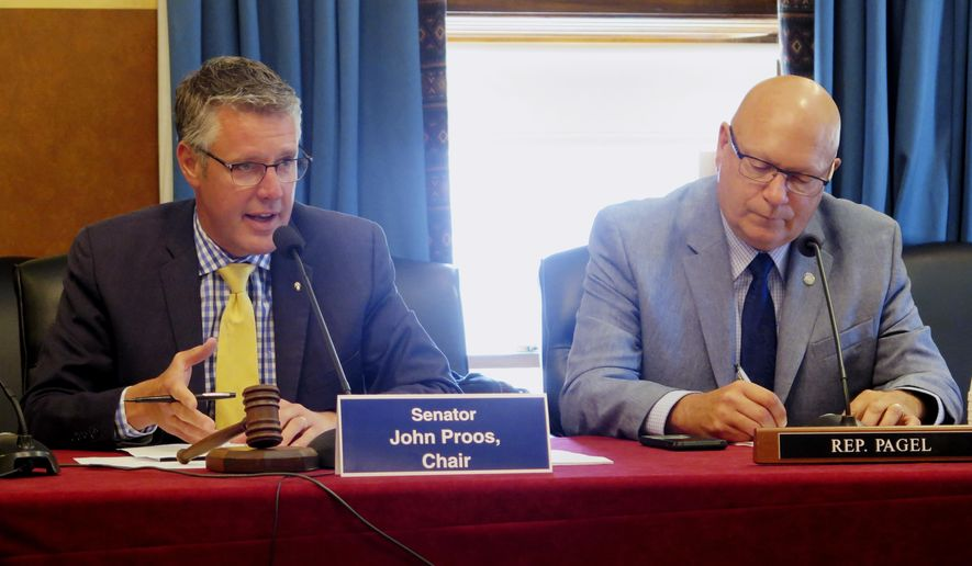 Michigan state Sen. John Proos, left, R-St. Joseph, speaks in support of a $2 billion corrections budget that won approval from a House-Senate conference committee on Wednesday, June 7, 2017, at the Capitol in Lansing, Mich. Panel member Rep. Dave Pagel, R-Berrien Springs,is at right. Majority Republicans are approving individual budgets without the blessing of Gov. Rick Snyder due to an impasse over teacher pensions. (AP Photo/David Eggert)