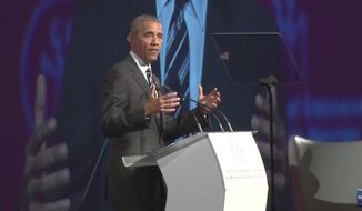 """Former President Barack Obama warned against nationalist and authoritarian movements during his speech in Canada, declaring he's convinced that """"the future does not belong to strongmen."""" (YouTube/@Global News)"""