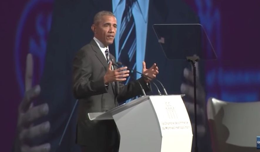 "Former President Barack Obama warned against nationalist and authoritarian movements during his speech in Canada, declaring he's convinced that ""the future does not belong to strongmen."" (YouTube/@Global News)"